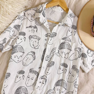 White Minimal Face Drawing Button Up Top